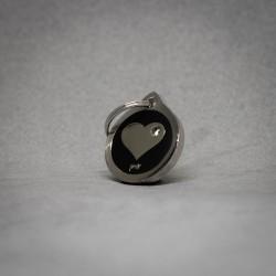 Medalla de Perro Corazón Brillante negro