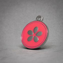 Medalla de Perro Flor Rosa