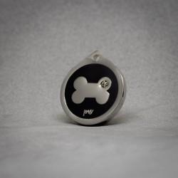 Medalla de Perro Hueso Brillante negra