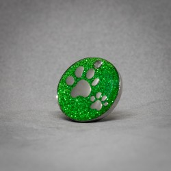 Medalla de Perro Huellas Brillantes Verde