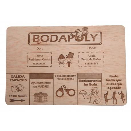 invitación de madera bodapoly