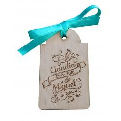 etiqueta de madera lazo