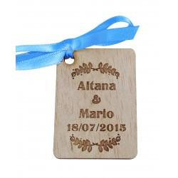etiqueta de madera laurel