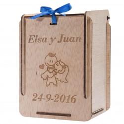 caja de madera recién casados