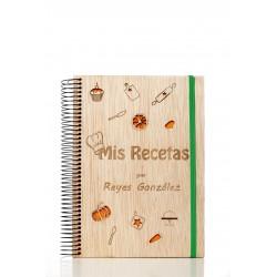 libreta de madera mis recetas