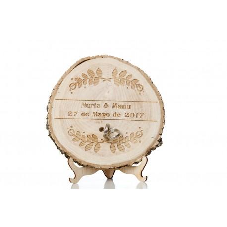 porta anillos laurel de madera