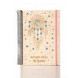 libreta de madera atrapa ideas