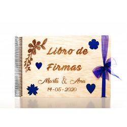 libro de firmas de madera floral para boda