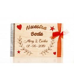 libro de firmas nuestra boda de madera