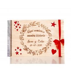 libro de madera para boda nuestra historia