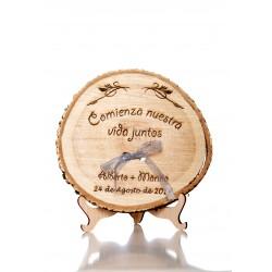 porta anillos de madera la vida juntos