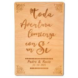 cartel de madera toda aventura para boda