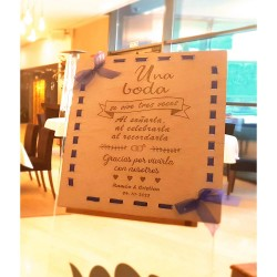 cartel madera personalizado una boda