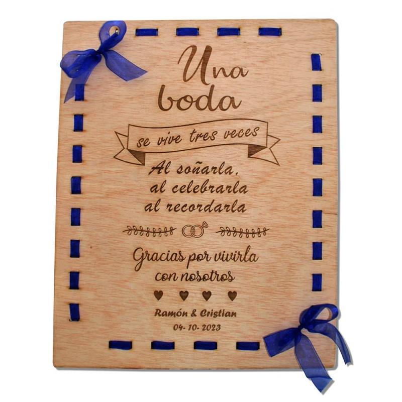 cartel una boda de madera personalizado