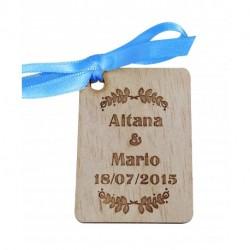 etiqueta madera para detalles boda personalizada