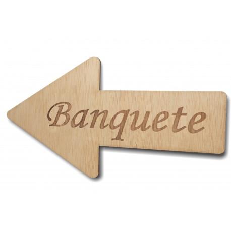 flecha de madera banquete para bodas