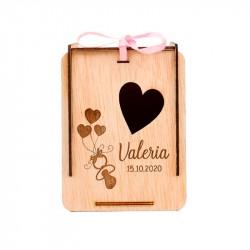 Caja de Madera Globos de Corazón