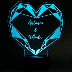 lampara corazon personalizada