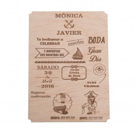 invitación de madera marinera