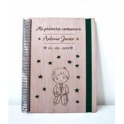 Libreta de madera Niño de primera comunión