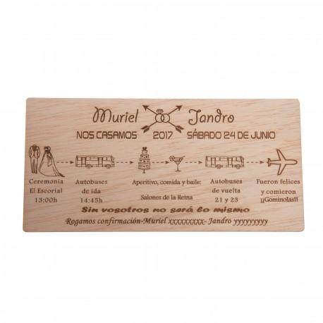 invitación de madera Itinerario