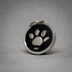 Medalla para Perro Huella Brillante Negra
